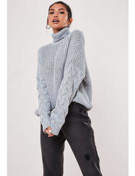 Grey Roll Neck Cable Knit Sleeve Jumper by Missguided