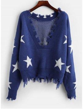 Zaful Cropped Frayed Stars Sweater   Blue by Zaful