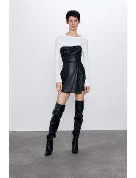 Short Faux Leather Playsuit by Zara