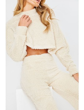 Cream Teddy Fur Crop And Trouser Lounge Set by In The Style