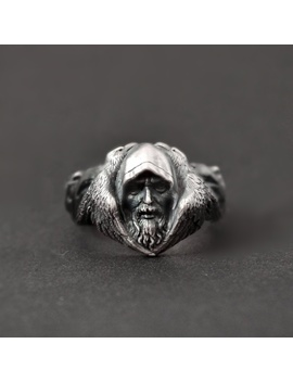 Eyhimd Norse Mythology Odin Raven Silver Rings Mens Viking Wolf Stainless Steel Ring Scandinavian Amulet Jewelry by Ali Express.Com