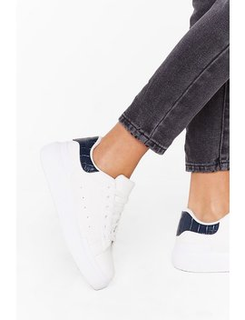 Sneaking Around Faux Leather Croc Trainers by Nasty Gal