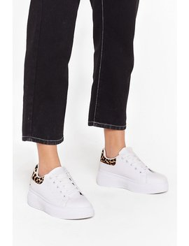 She's Runnin' Wild Faux Leather Leopard Trainers by Nasty Gal