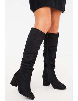 Black Faux Suede Ruched Knee High Boots by In The Style
