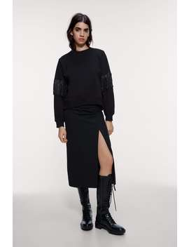 Sweatshirt With Rhinestone Fringes by Zara