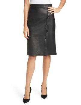 Nordstom Signature Button Detail Leather Skirt by Nordstrom Signature