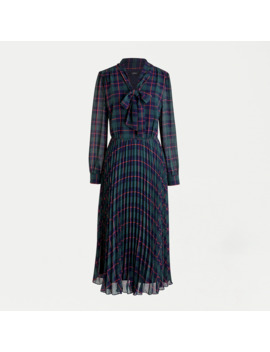 Petite Tie Neck Pleated A Line Dress In Black Watch Tartan by J.Crew