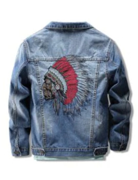 Indian Character Embroidery Scratch Chest Pocket Denim Jacket   Blue L by Zaful