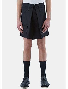 Men's Velcro Wide Leg Shorts In Black by Raf Simons