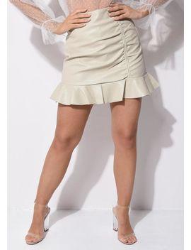 Faux Leather Pu Ruched Frill Hem Mini Skirt Beige by Lily Lulu Fashion