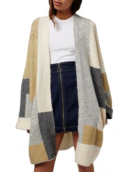 Patchwork Oversize Open Cardigan by Topshop