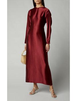 Demeter Knotted Satin Maxi Dress by Deitas