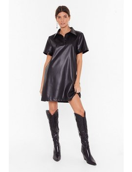 Bite The Dust Faux Leather Shirt Dress by Nasty Gal