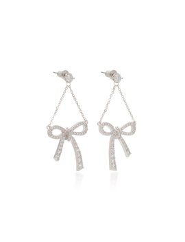 Silver Tone Crystal Bow Earrings by Fallon