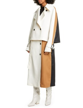 Colorblock Techy Twill Convertible Trench Coat by Tibi