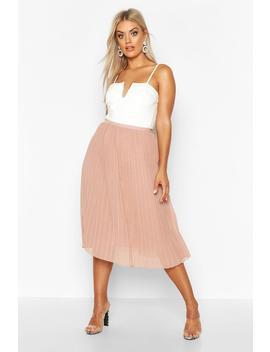 Plus Chiffon Pleated Midi Skirt by Boohoo