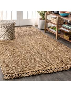 Jonathan Y Para Hand Woven Chunky Jute With Fringe Natural Area Rug by Jonathan Y