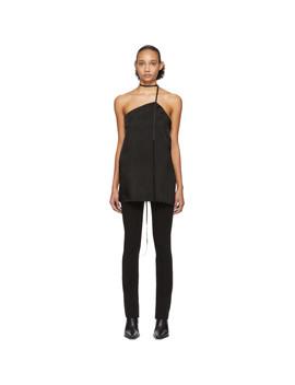Black Asymmetric Bondage Camisole by Yang Li