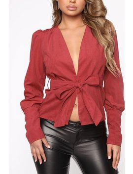 Making Big Moves Faux Suede Top   Burgundy by Fashion Nova