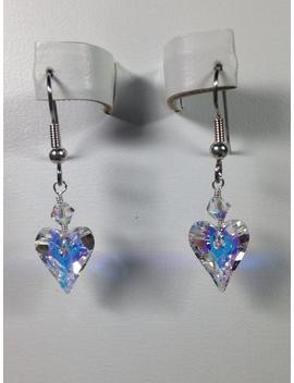 Swarovski Crystal Iridescent Heart Earrings  Scd031 by Etsy