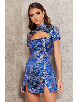 Blue High Neck Cut Out Jacquard Mini Dress by I Saw It First