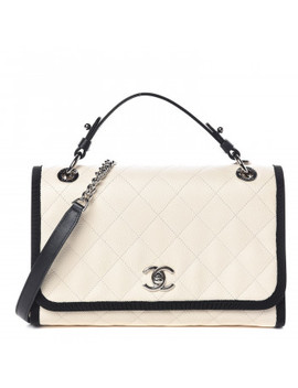 Chanel Caviar Grosgrain Quilted Top Handle Cc Flap Beige Black by Chanel
