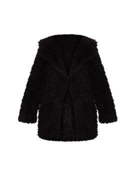 Black Teddy Faux Fur Coat  by Prettylittlething