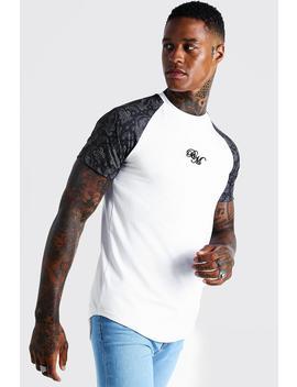Bm Muscle Fit Printed Raglan T Shirt by Boohoo