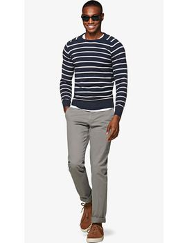 Navy Stripe Crewneck by Suitsupply