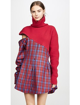 Hybrid Sweater Zip Plaid Dress by Unravel Project