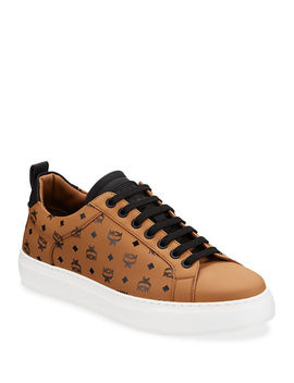 Men's Logo Group Faux Leather Sneakers by Mcm