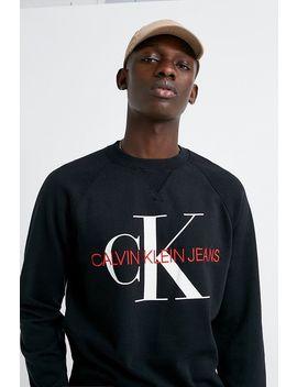 Calvin Klein Jeans Black Monogram Logo Crew Neck Sweatshirt by Calvin Klein