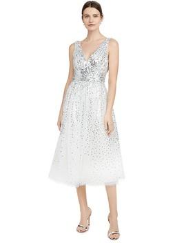 Sleeveless V Neck Degrade Sequin Gown Tea Length by Marchesa Notte