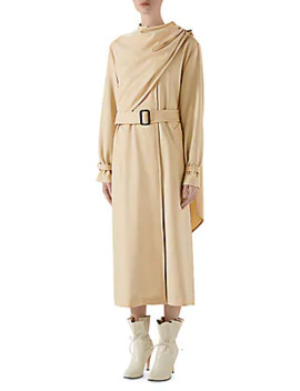 Wool Drape Front Trench Coat by Gucci