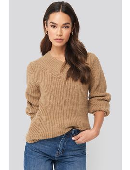 Wide Band V Neck Ribbed Sweater Beige by Na Kd