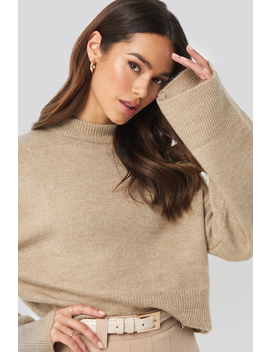 Wide Sleeve Round Neck Knitted Sweater Beige by Na Kd