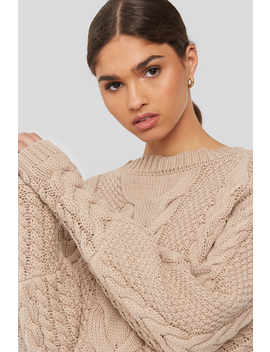 Cable Knitted Ribbed Sleeve Sweater Beige by Na Kd Trend