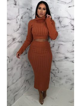 Rust Knitted Turtleneck Midi Co Ord   Coco by Femme Luxe