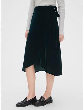 Velvet Wrap Midi Skirt by Gap