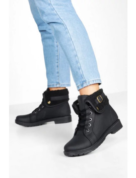 Shearling Cuff Hiker Boots by Boohoo