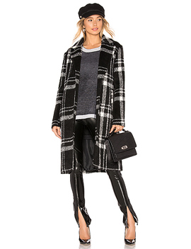 Amanda Plaid Coat In Black & White by Superdown