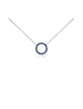 Mini Sapphire Circle Pendant In 14k White Gold (1mm) by Blue Nile