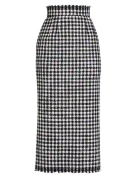Stretch Wool Houndstooth Skirt by Dolce & Gabbana