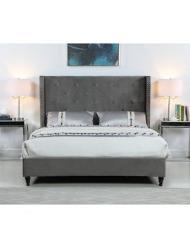 Gray Sandoval Velvet Upholstered Platform Bed by House Of Hampton
