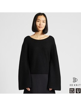Women Uniqlo U 3 D Knit Seamless Extra Fine Merino Wool Wide Sleeved Jumper (2) by Uniqlo