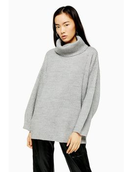 Longline Turtle Neck Sweater With Wool by Topshop