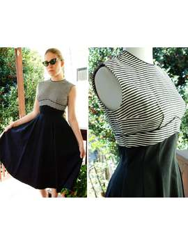 Parisian Stripes 1940's 50's Vintage Classic Black + White Sleeveless Hourglass Dress With Full Skirt // Size Xs Small by Etsy