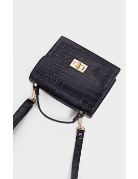 Black Croc Cross Body Bag  by Prettylittlething