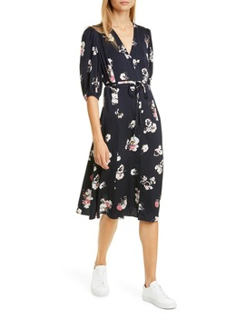 Button Front Stretch Silk Dress by Nordstrom Signature