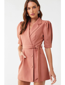Puff Sleeve Blazer Dress by Forever 21